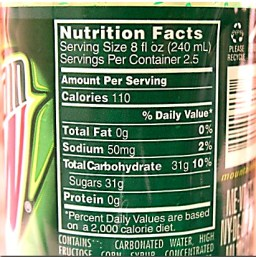 mountain dew nutrition label