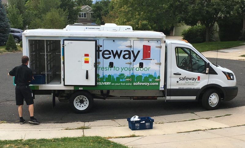 safeway grocery delivery truck, unloading