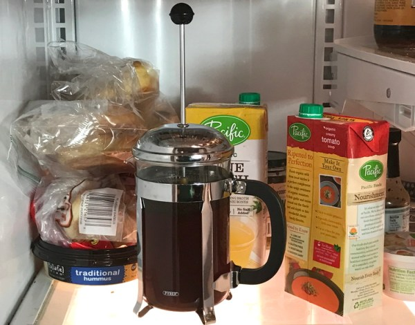french press, cold brew, in fridge, brewing coffee