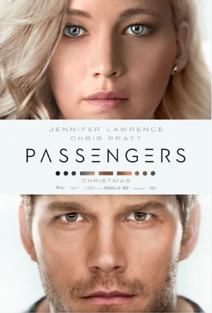 passengers movie poster one sheet jennifer lawrence chris pratt