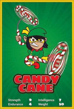 santa vs jesus card detail: candy cane