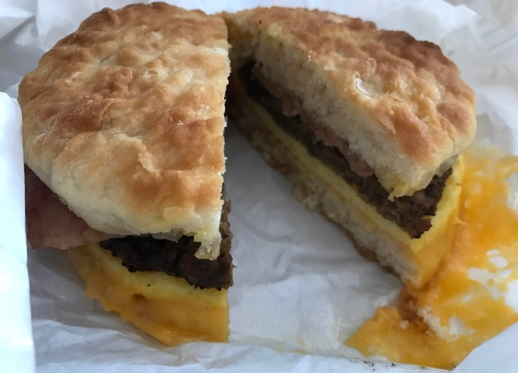 Big AZ Biscuit Stacker breakfast sandwich