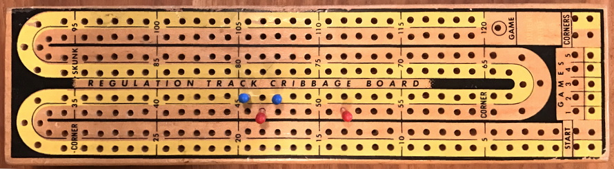 continuous track 2-play wooden cribbage board