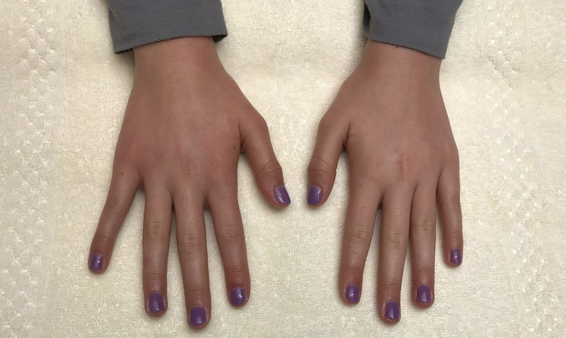 girls hands, painted fingernails, purple lavender