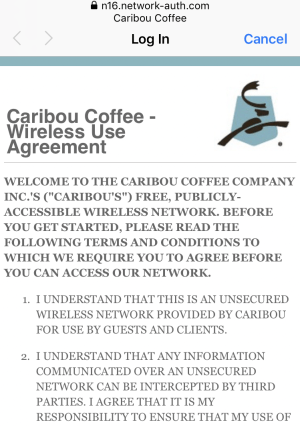 caribou coffee wireless use agreement #1