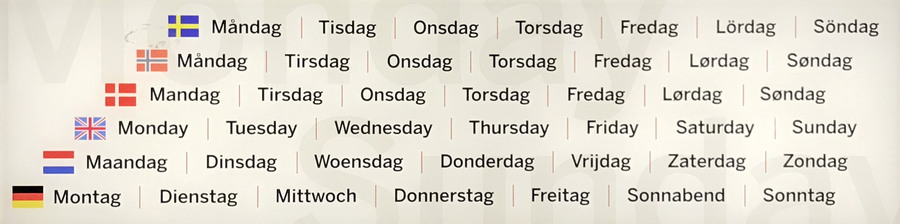 days of the week, from norse gods