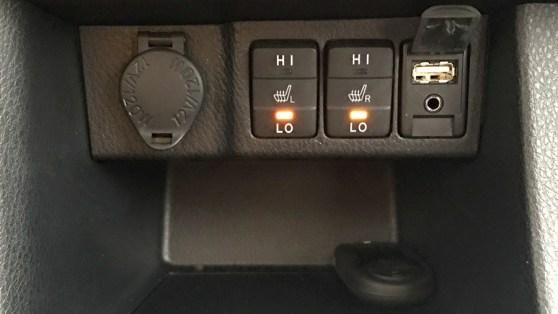 corolla seat heater controls and usb plug