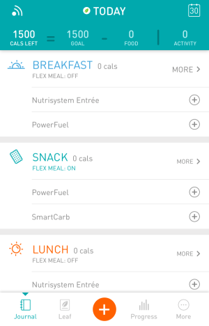 nutrisystem numi app - today's menu