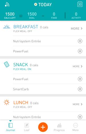 nutrisystem numi app - today's menu