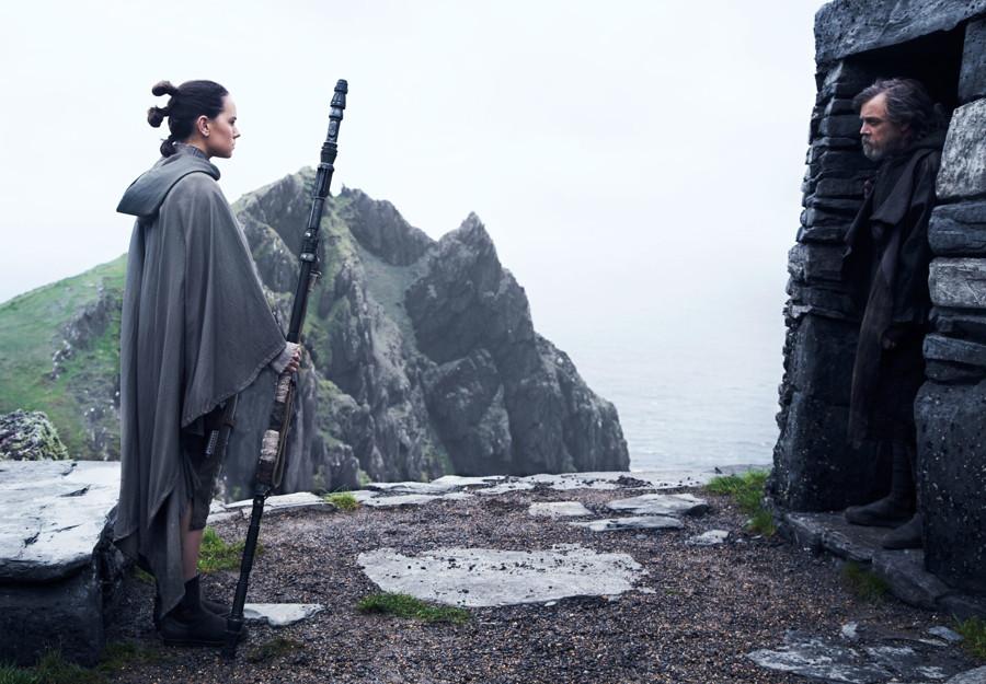 "Rey (Daisy Ridley) and Luke (Mark Hamill), from ""Star Wars: The Last Jedi"""