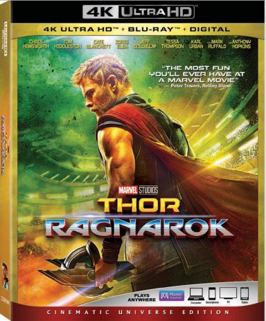 thor ragnarok 4k blu-ray disc packaging