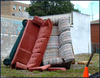 discarded couches - college kids home for the summer