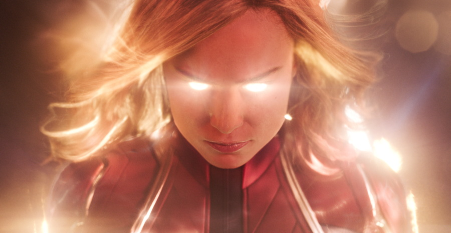 "Captain Marvel (Brie Larson) gets her energy warmed up - from ""Captain Marvel"""