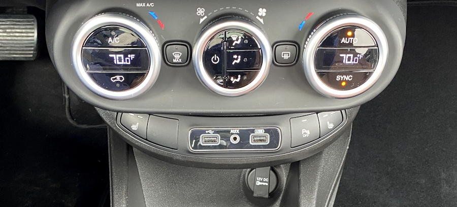 2019 fiat 500x - center console dash controls