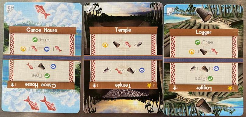 palm island card game - a few sample cards