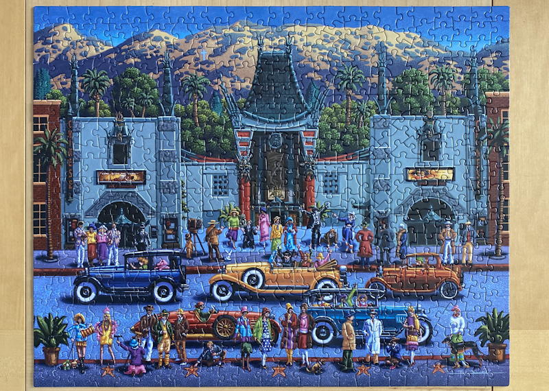 dowdle folk art jigsaw puzzle - hollywood - solved puzzle