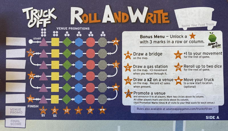 truck off roll and write game - score section