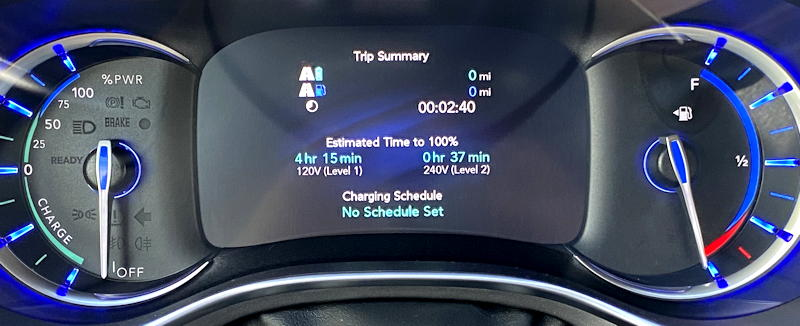 2019 chrysler pacifica hybrid ltd - time to charge 110v 220v