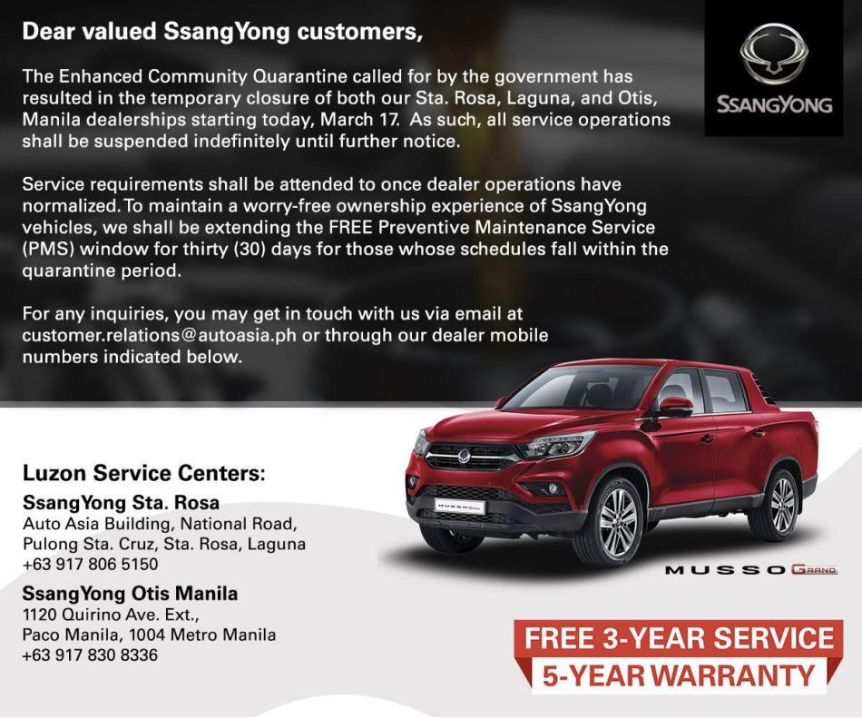 SsangYong PH Extends Free Maintenance Support Amid Enhanced Community Quarantine