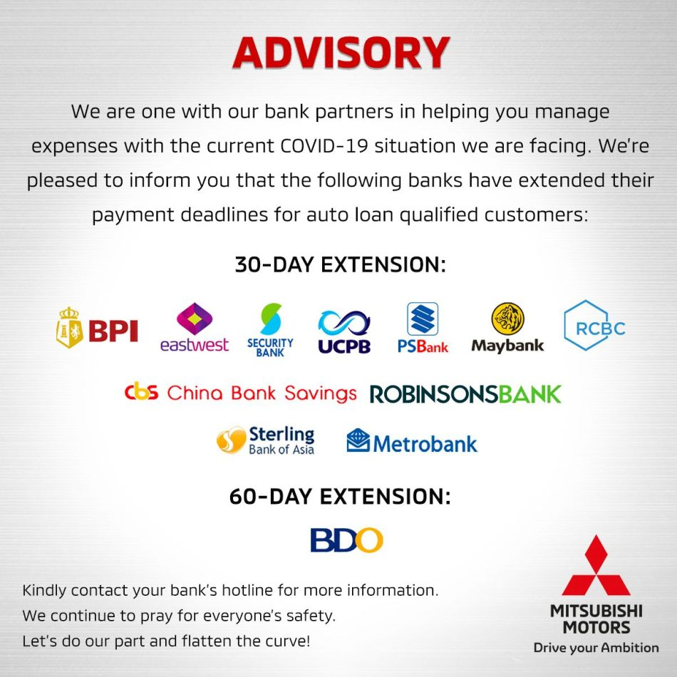 Mitsubishi Motors Philippiines Payment Extensions