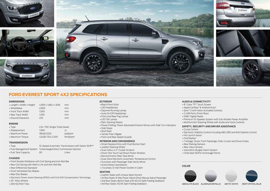 2020 Ford Everest Sport Philippine Brochure