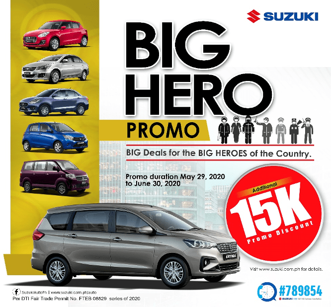 Suzuki Philippines is offering discounts on most of its models as a way to provide affordable personal transport to frontliners.