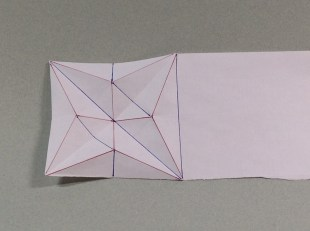 Crease pattern (red=mountain fold; blue = valley)