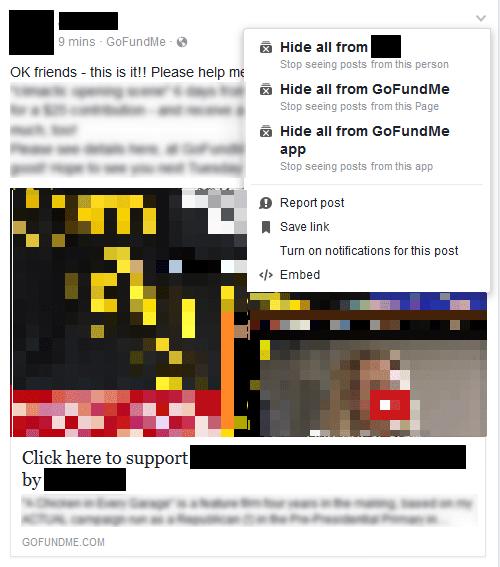 hide GoFundMe from newsfeed