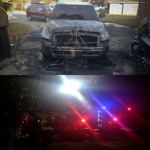 Denton TX vandalism fire