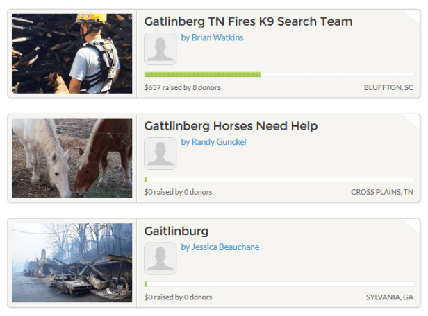 Gatlinburg fire GoFundMe campaigns