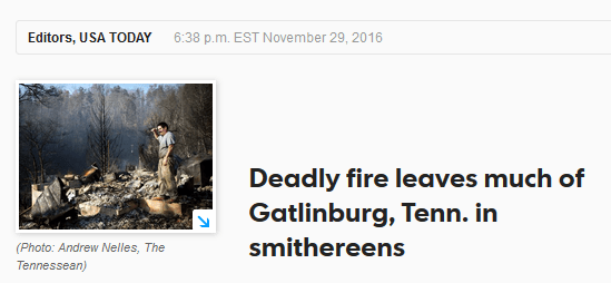 Gatlinburg fire USA Today