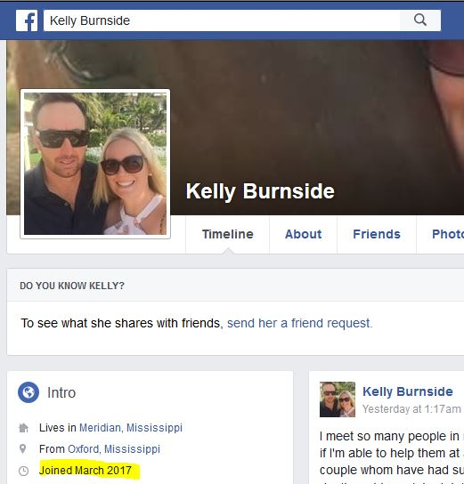 Kelly Burnside fake Facebook
