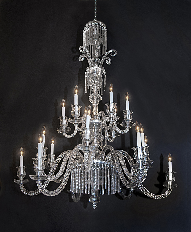 French 19th Century 2 Tier 18 Light Baccarat Crystal Chandelier This Features Cut Arms Center Marked On Each