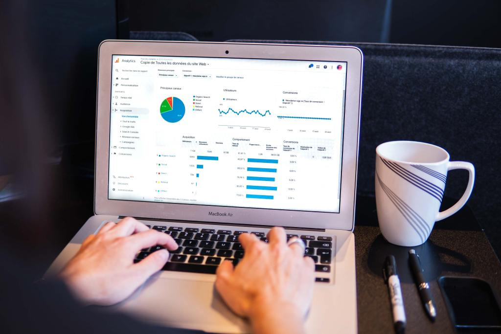 Computer open to Google Analytics to measure their brand's Google Ad performance