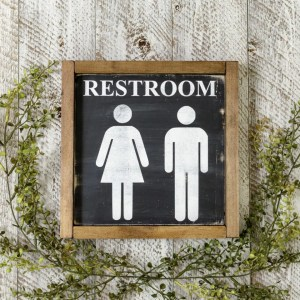 Restroom Bathroom Handmade Solid Wood Sign