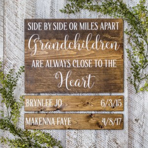 Grandchildren Birthday Dates Handmade Solid Wood Sign