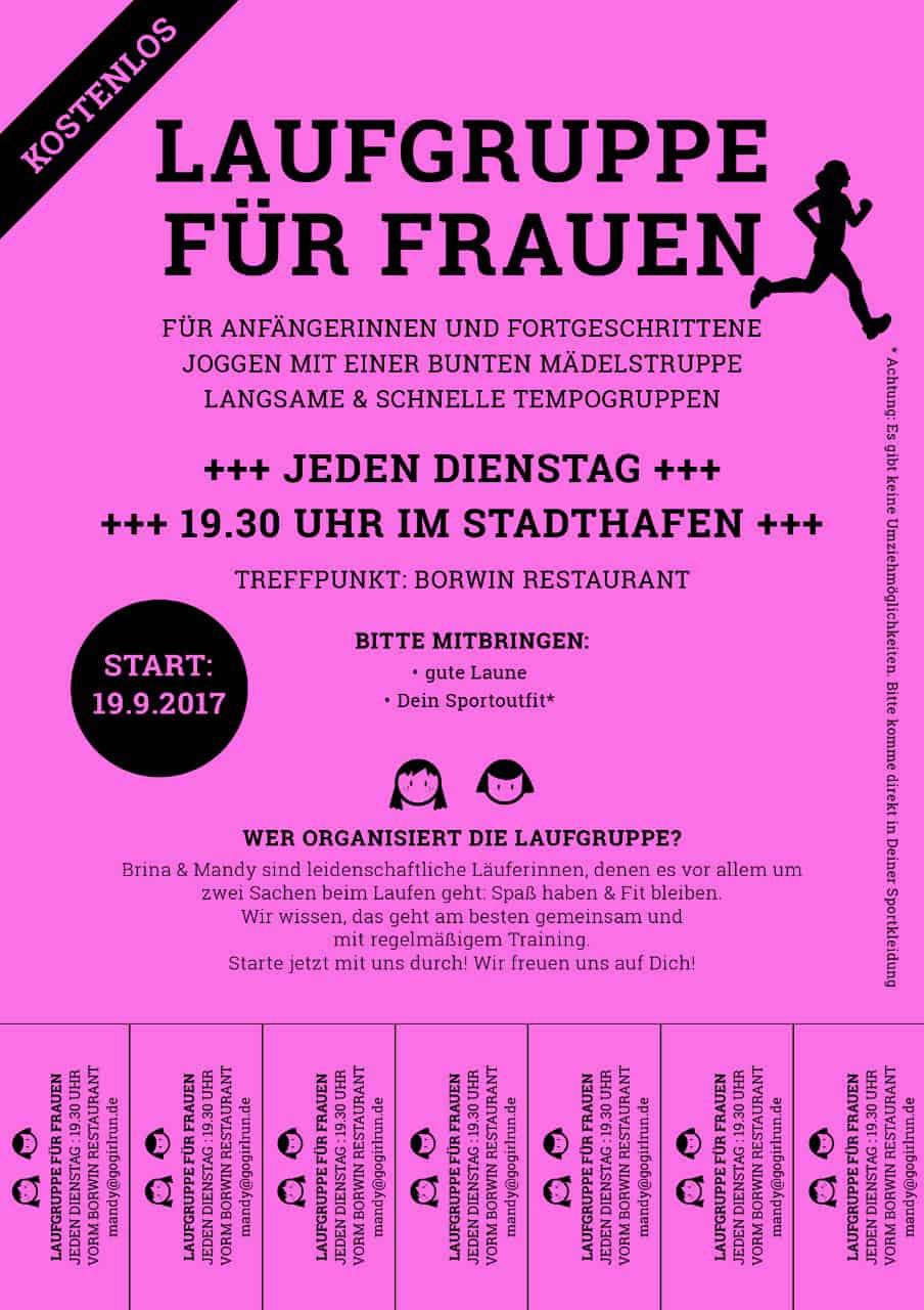 Aushang Frauenlaufgruppe Rostock