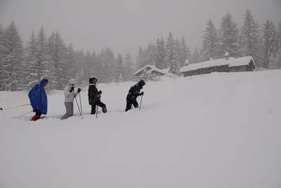 Da Planpincieux a casolari Rochefort con racchette da neve, Courmayeur, val Ferret