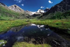 In Valle Viola Bormina, nei pressi dell'Alpe Dosdé, da sinistra, Pizzo Dosdé, Cima sud dei sassi Rossi, Sasso Conca, Cima Lago Spalmo.