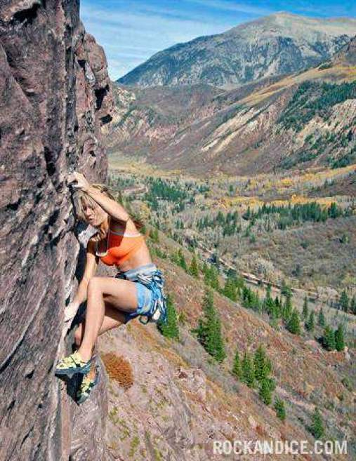ClimbingGirls-24-Jessa Younker on the first pitch of the five-five pitch Superstein (5.13a), Redstone, Colorado