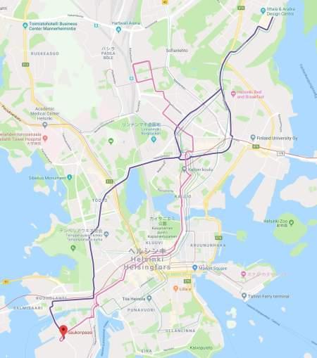 トラム8・9番線のルート図