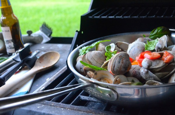 Grilled Clams with Chorizo Peppers Basil Go Go Go Gourmet