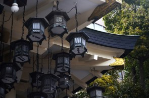 Lanterns at Nanba Yasaka Shrine