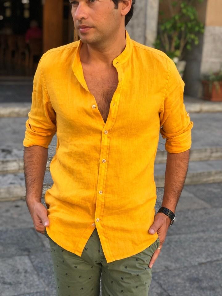 camicia di lino giallo - abbigliamento uomo gogolfun.it