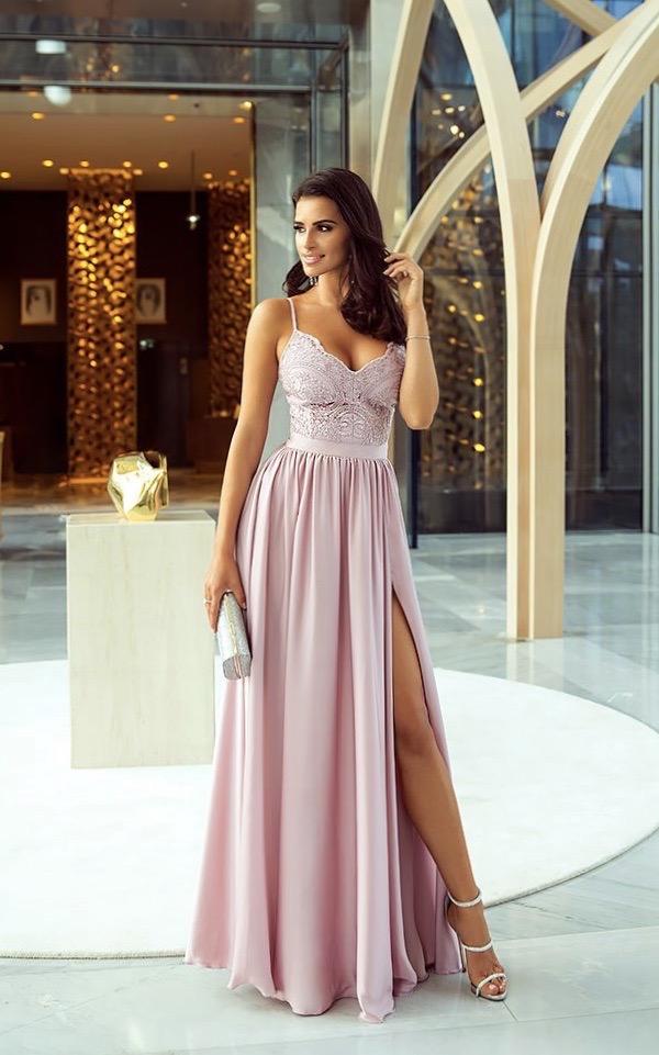 Vestito elegante rosa cipria con  spacco vertiginoso. Perfetto percerimonie, matrimoni, anniversari e sopratutto diciottesimi compleanni - gogolfun.it