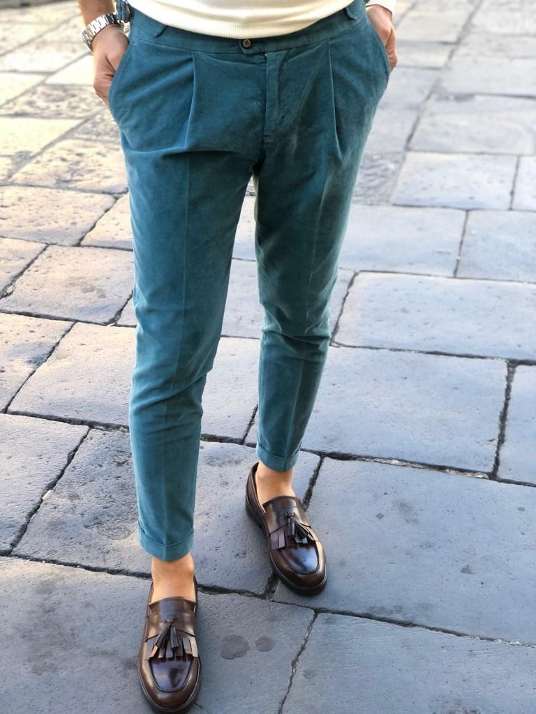 Pantaloni verdi, uomo in velluto liscio - Paul Miranda - Gogolfun.it