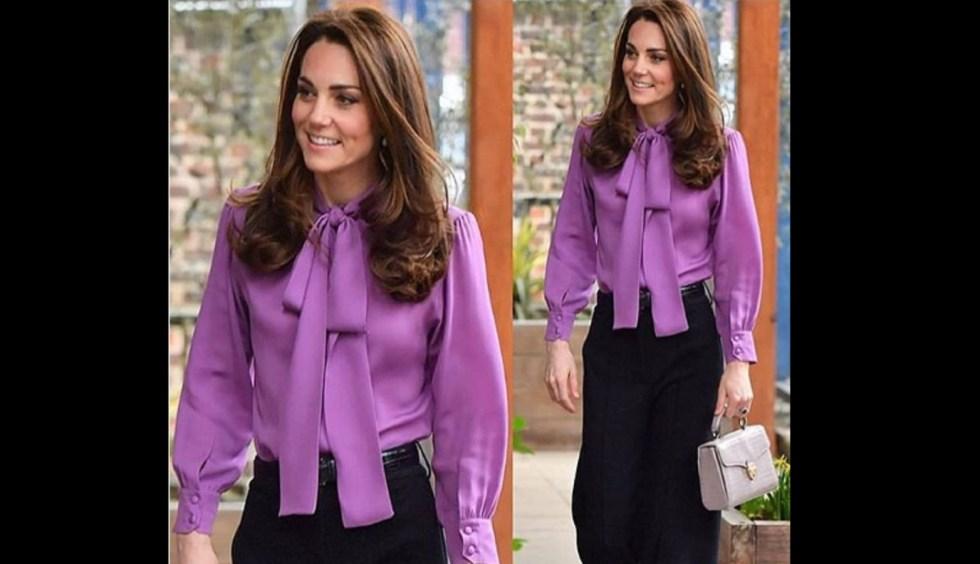 Kate Middleton in blusa viola