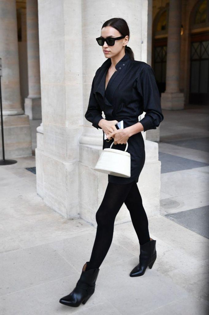 Irina Shayk in maxi camiciatotal blak