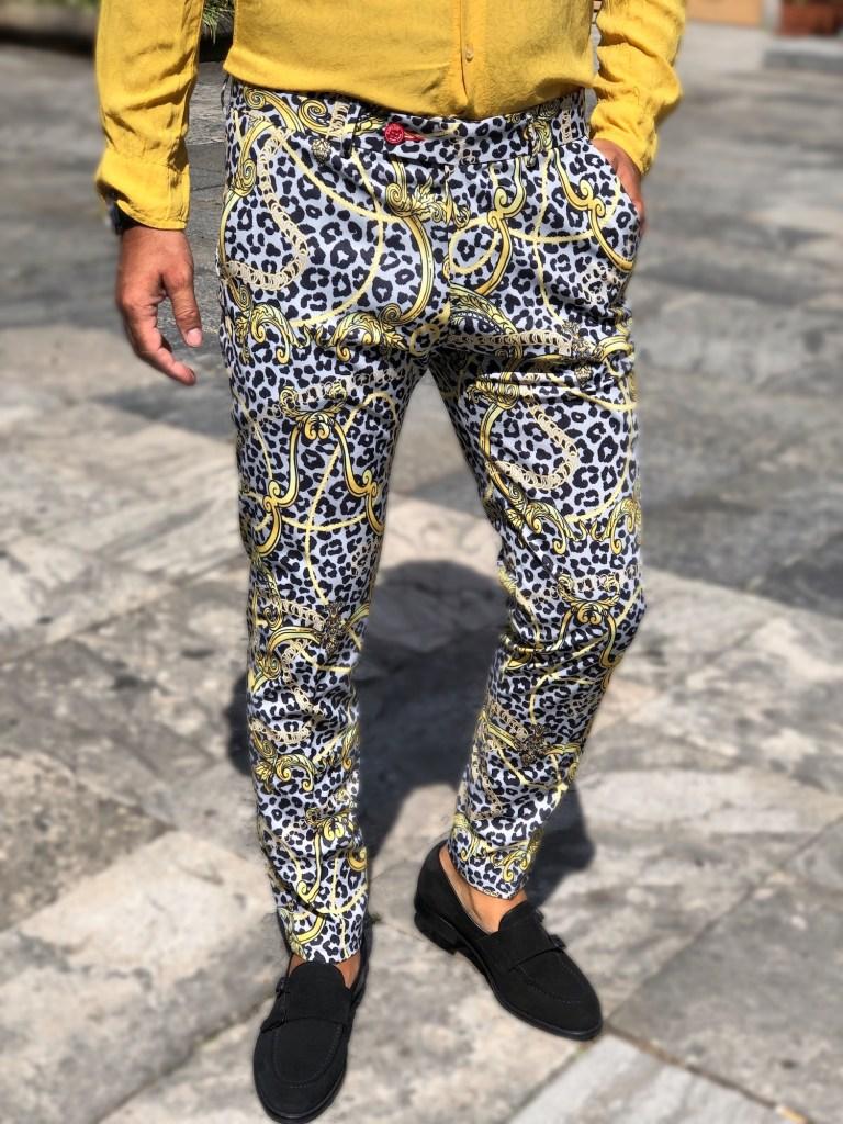 Pantaloni uomo - slim fit con disegno vintage, come resistere - Gogolfun.it