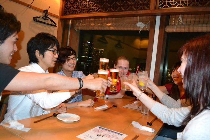 Drinking with Japanese friends